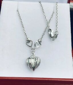 "18k Solid White Gold Link Chain Necklace With Heart Pendant 16"". 3.23GM"