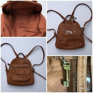 Fossil Light Brown Mini Backpack Purse Bag Tan Leather