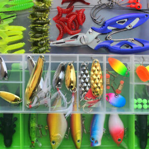Fishing Lures Set Mixed Minnow Popper Box Spinner Spoon Cebo Grip Hook US Stock