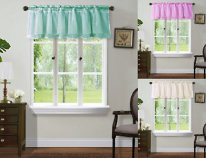 NEW 1PC VOILE SHEER CRUSHED RUFFLE WINDOW DRESSING CURTAIN SHORT PANEL VALANCE