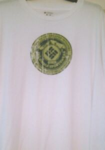 Mens Tshirt White Columbia Welcome To Greater Outdoors Print Long Fit NWT S S LT $17.85