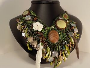 Wedding necklace earthy handmade by artist one of a kind