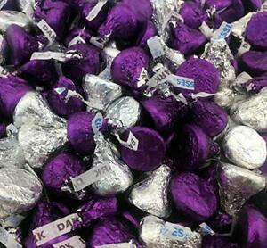 Hershey's Kisses Candy,Mix Milk Chocolate Silver and Dark Chocolate Purple Foils