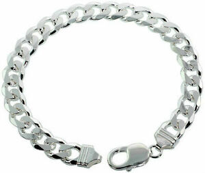 STERLING SILVER AUTHENTIC 9MM MEN HEAVY CUBAN LINK CHAIN BRACELET SIZE 07