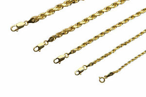 BRAND NEW 14K Yellow Gold 1.5-5mm Italy Rope Chain Twist Link Necklace 16