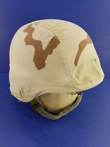 US Military PAGST Helmet Made With Kevlar Desert Camo Cover DLA100 Size Large