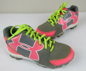 Under Armour Girls sz 1Y Youth Baseball Softball Cleats 1264716-065 Gray  Pink