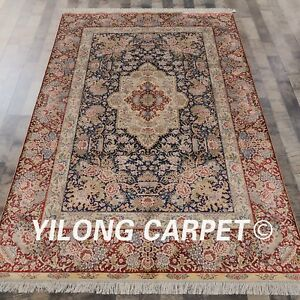YILONG 5'x8' Floral Handmade Silk Persian Carpet Interior Design Area Rug 270D