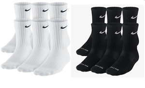 Nike Dri Fit and Performance Cotton Crew Socks 1 3 OR 6 PAIRS WHITE OR BLACK $17.99