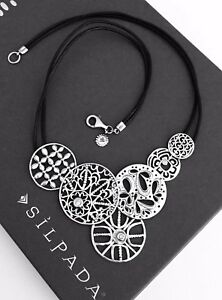 SILPADA~STERLING SILVER FILIGREE ART BLACK LEATHER NECKLACE~N2343~RETIRED!