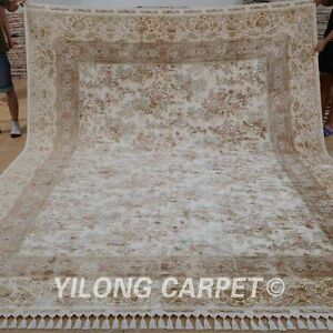 YILONG 8.5'x11.5' Handmade Silk Persian Carpet Artistic Design Floral Rug 1181