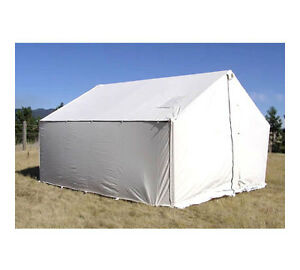 10' x 12' Canvas Wall Tent - Water & Mildew Treated 10.1 oz Army Duck Canvas