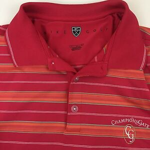 NIKE Golf Mens Dry Fit Polo Shirt Short Sleeve Striped Champions Gate Embroidery