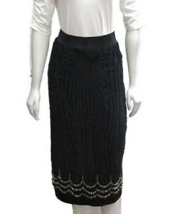 NEW Donna Karan Collection Embellished Rhinestones Skirt Fringe Small 2 4 Black