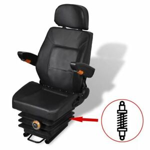 vidaXL Tractor Seat with Suspension Black Forklift Replacement Relaxer Chair