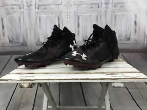 Under Armour Nitro Mens Black Maroon Red Football Athletic Cleats Shoes sz 13e