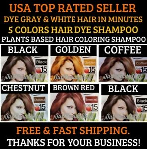 5 SACHETS INSTANT BLACK- BROWN- RED- HAIR DYE SHAMPOO- FAST COLORING- USA SELLER