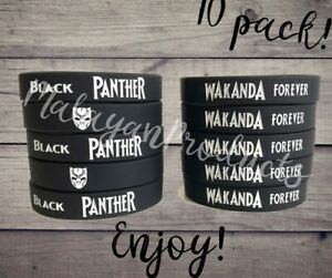 10 Pack Wakanda Forever Black Panther Wristbands Bracelet Movie Party Favor NEW