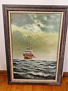 Oil Painting on canvas of sailing Ship by Warren Von Thongen Museum Quality