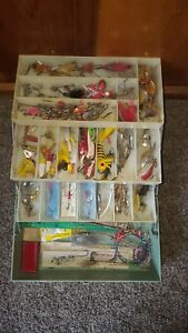 VINTAGE My Buddy plastic TACKLE BOX FULL metal lures & fishing tackle June Bugs