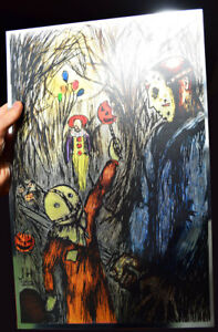 Sam, Jason, Pennywise METALLIC FOIL PRINT 11x17 trick r treat It Friday the 13th