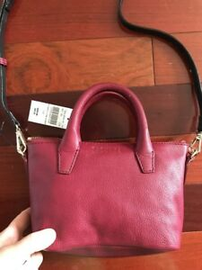 Cross body Bag Leather Barney New York New Burgundy Red $200