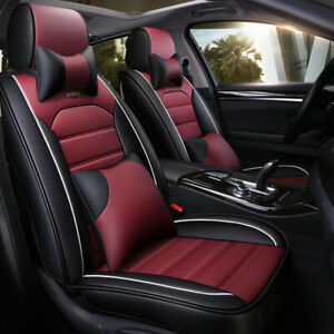 Burgundy Luxury Deluxe SUV Car Seat Cover Protectors Cushions+Headest Full Set