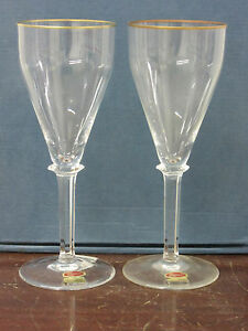 Moser Elegance Gold hand crafted lead free crystal1-boxed pair red wines new