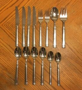 Cambridge Stainless Flatware 14 Pcs Knives Forks Spoons Unknown Pattern Banded