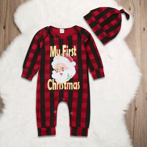 Newborn Baby Girl Boy Christmas Costume Santa Claus Romper +Hat Clothes Outfits