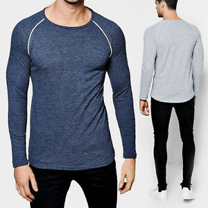 Men's Solid Slim Fit O-Neck Long Sleeve Muscle Tee T-shirt Casual Tops Blouse