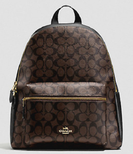 New Coach Womens  F58314 Charlie Leather Backpack in Signature BROWNBLACK