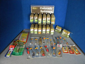 Vintage Lot 114 NOS Fishing Lures Weller Colorado Spinners Blue Fox + Display