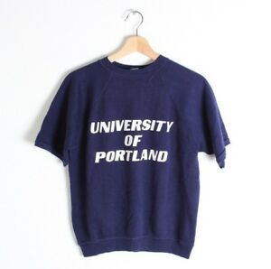 VTG 70S NOS CHAMPION BLUE BAR UNIVERSITY OF PORTLAND SHORT SLEEVE SWEATSHIRT