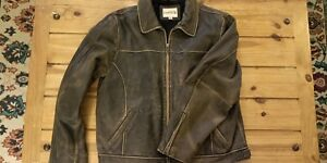 BKE 67 1967 Men Motorcycle Bomber design distressed Brown Leather Jacket size XL