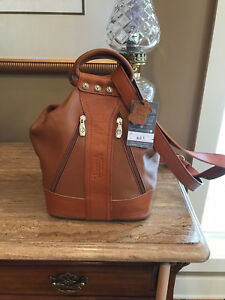 VALENTINA Leather Brown Tan Sling Handbag Convertible Backpack Made in Italy NWT