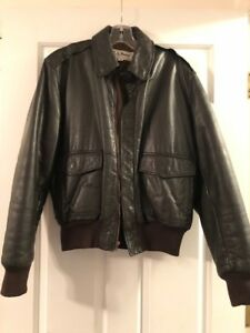 LL Bean Men's Leather Bomber Jacket Dark Brown Size 38 Thinsulate lining