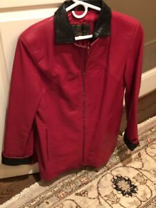 Ladies Large Red Leather Jacket Firenze Leather Factory Italy