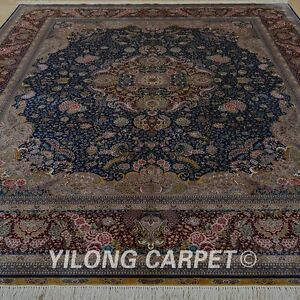 YILONG 8'x10' Handknotted Silk Persian Area Rug Busy Design Durable Carpet 0319
