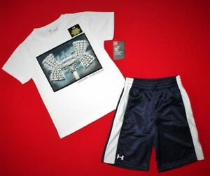 ~BOY'S UNDER ARMOUR SHORTS & T-SHIRT..SIZE 4...DRI-FITNAVYWHITE~~NEW wt TAGS~