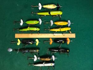ULTIMATE LOT OF 12 MOULDY'S MUSKY TOPWATER LURES HAWG WOBBLERS & TOPPER STOPPERS