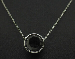 14K White Gold 5.00ct Round Natural Black Diamond Bezeled Solitaire Necklace-18