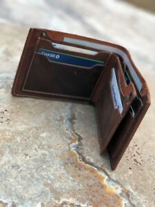 Leather Wallet Bifold minimalist Handmade wallet for Men- Made in USA