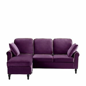 Classic Traditional Small Space Velvet Sectional Sofa Reversible Chaise Purple
