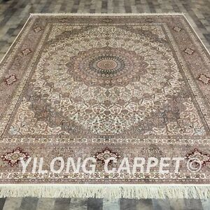 YILONG 8'x10' Handknotted Silk Persian Carpet Oriental Durable Area Rug LH176A