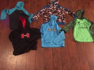 Lot of 5 Boys Under Armour Clothes. 4 Hoodies One Hooded Long Sleeve