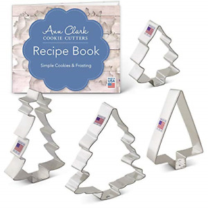 Christmas/Holiday Tree Cookie Cutter Set with Recipe Book - 4 Piece - Ann Clark