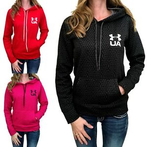 Womens Under Armour Hoodie Coldgear Printed Pullover Black Magenta Red S M L XL
