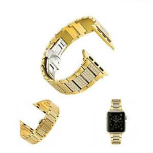 Copper Alloy Watch Band Metal Replacement Strap With Rhinestone For Apple Series