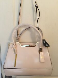 Cromia Italy Three Compartment Satchel Beige Patent Leather Shoulder Bag NWT